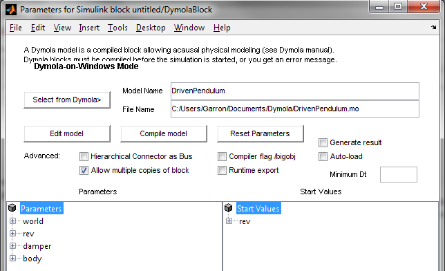 Selecting Dymola model