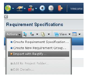 Figure showing iImport menu in Requirements Central