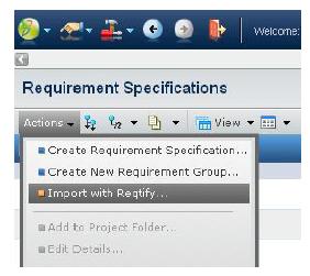 Figure showing iImport menu in Requirements Central