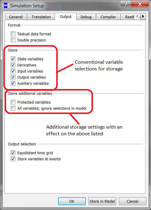 Variable selection settings in the simulation setup