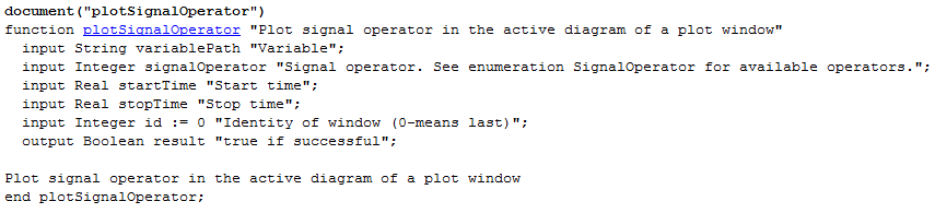 Inputs and outputs of the function plotSignalOperator