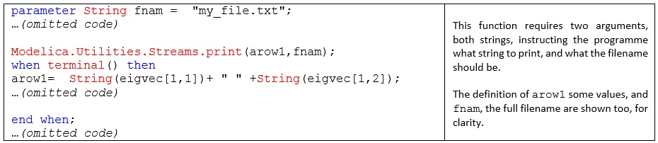Figure 5. code providing a string to print and the filename required