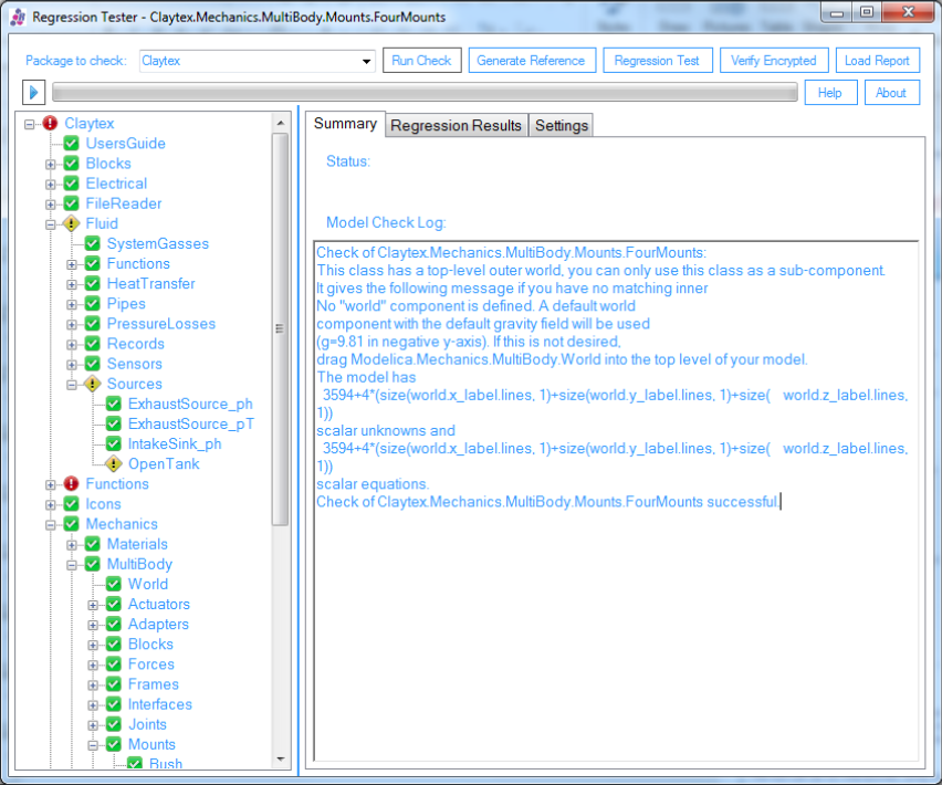 Screenshot from the RegressionTest tool used to run tests locally and view reports generated on the build server