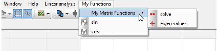 Figure 4_New menu My Functions with a submenu My Matrix Functions & 2 functions sin & cos