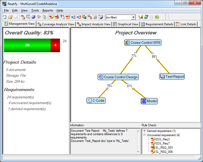 Screenshot of Reqtify showing the project management view. This includes the data sources and summary of requirements coverage