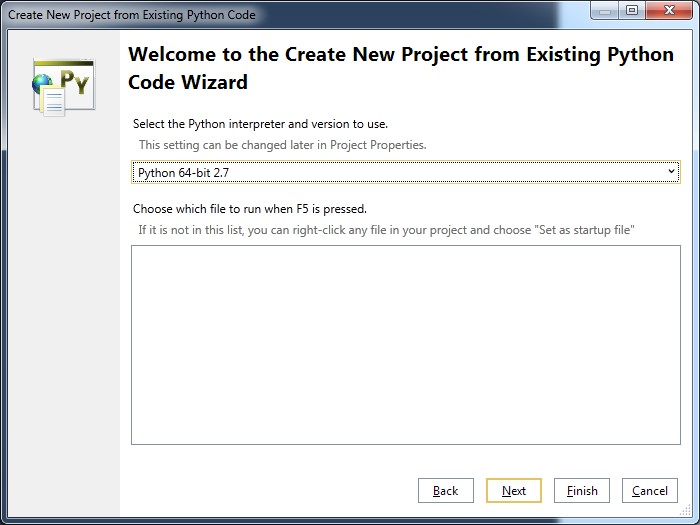 Figure 3. Python Code Wizard for creating a new project.