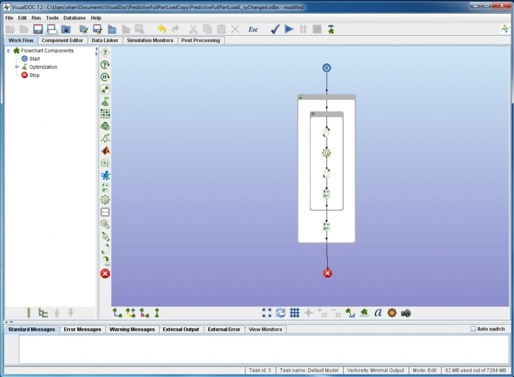 Figure 5- VisualDoc experiment setup with workflow and nested processes