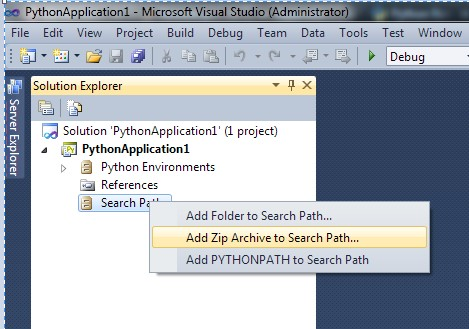 Figure 5. Adding Zip Archive to Search Path.