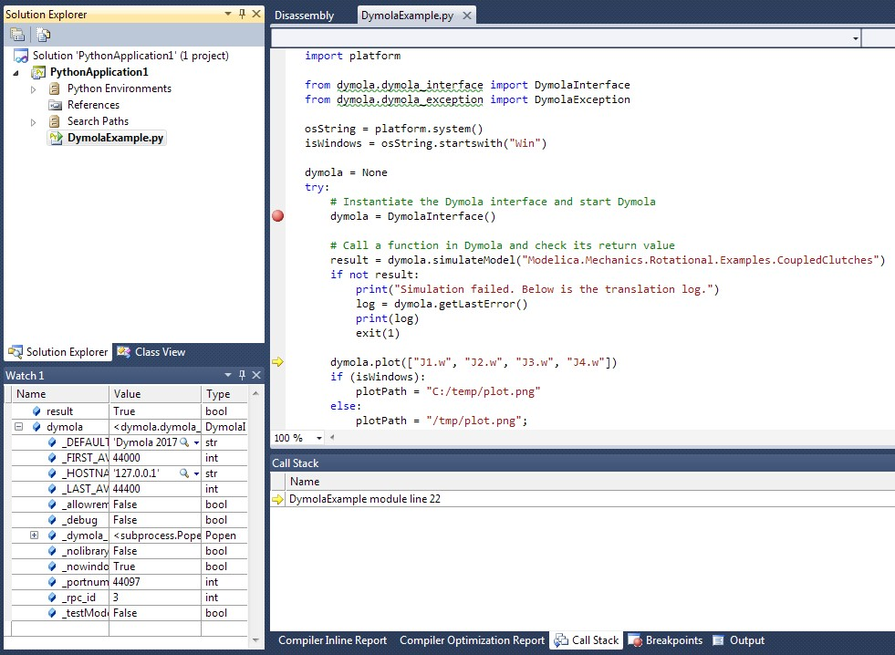 Figure 6. Stepping through the Python code in the Visual Studio environment.