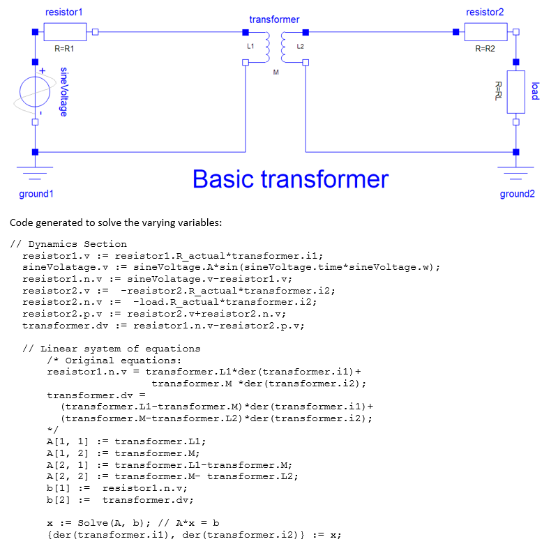 Basic transformer circuit with corresponding linear system of equations