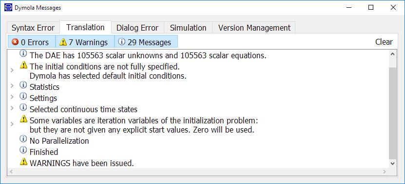 Translation tab of Simulation log