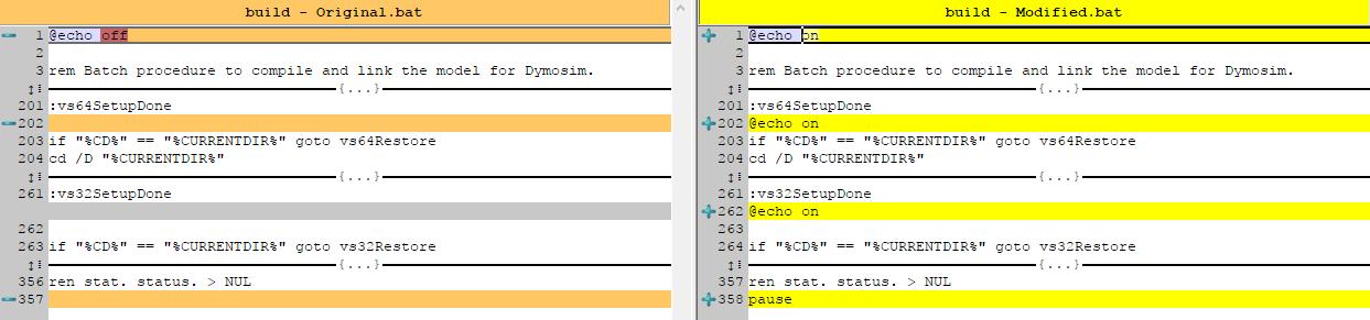 Original and modified VS build.bat files