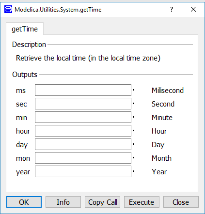 Dialog box of the Modelica.Utilities.System.getTime function in Dymola
