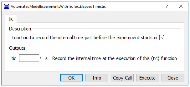 Dialog box of a simple 'tic' function