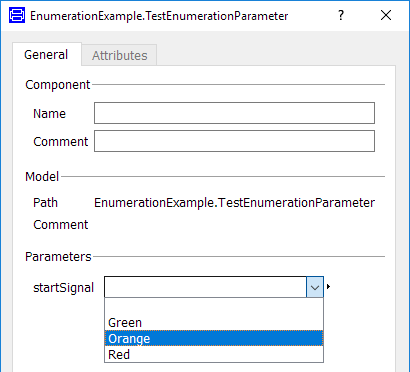 Figure 6. Drop down menu for parameter EnumerationExample.TrafficLightSignals startSignal;