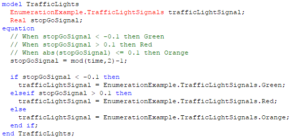 Figure 4. Model that makes use of a enumeration type variable
