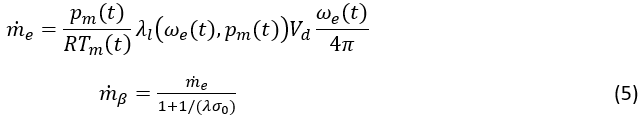 The mass flow into the cylinder can be modelled as