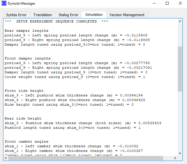 Sequential setup test report to simulation log