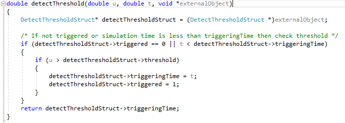 Figure 6. C code used to detect a threshold being exceeded