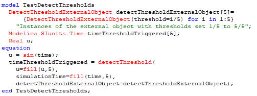 Figure 9. An example that creates 5 external objects with thresholds set from 1/5 to 5/5