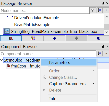 in the Component Browser select Parameters