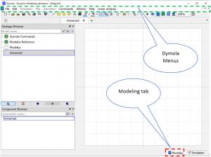 Figure 2– Dymola 2019 FD01 GUI Modeling tab.