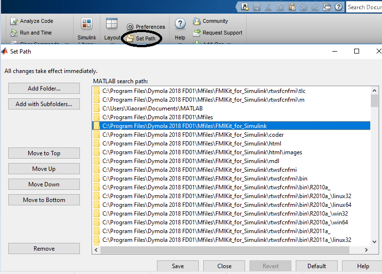 Figure 14: Add the FMIKit_for_Simulink directory to MATLAB path