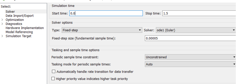 Figure 18: Simulink setting for running FMUs