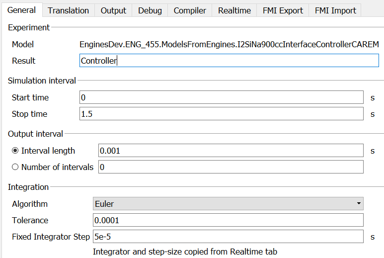 "Figure 2: Solver setup in ""General"" tab for exporting an FMU"