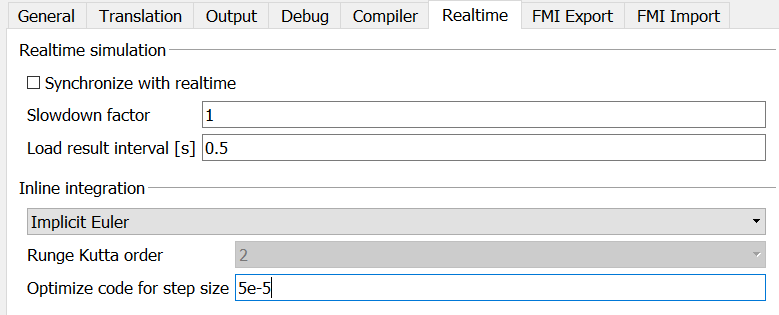 "Figure 3: Solver setup in ""Realtime"" tab for exporting an FMU"