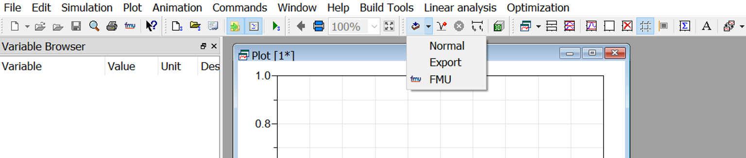 "Figure 4: Choose FMU in the ""translate"" menu"