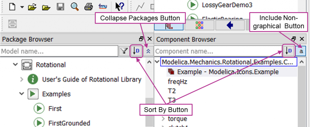 Package and Component Browser Buttons
