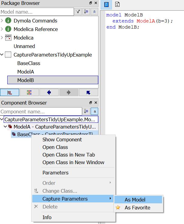 Figure 2. Use of Capture Parameters to modify what a model is extended from
