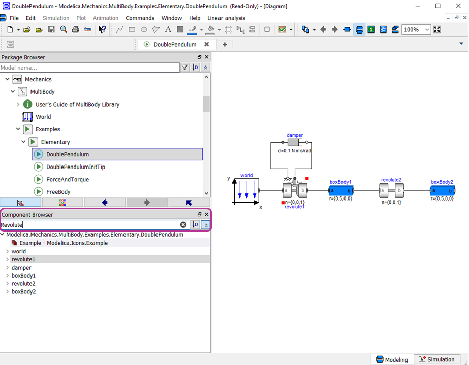 Component Browser filter being used to search the components in a model