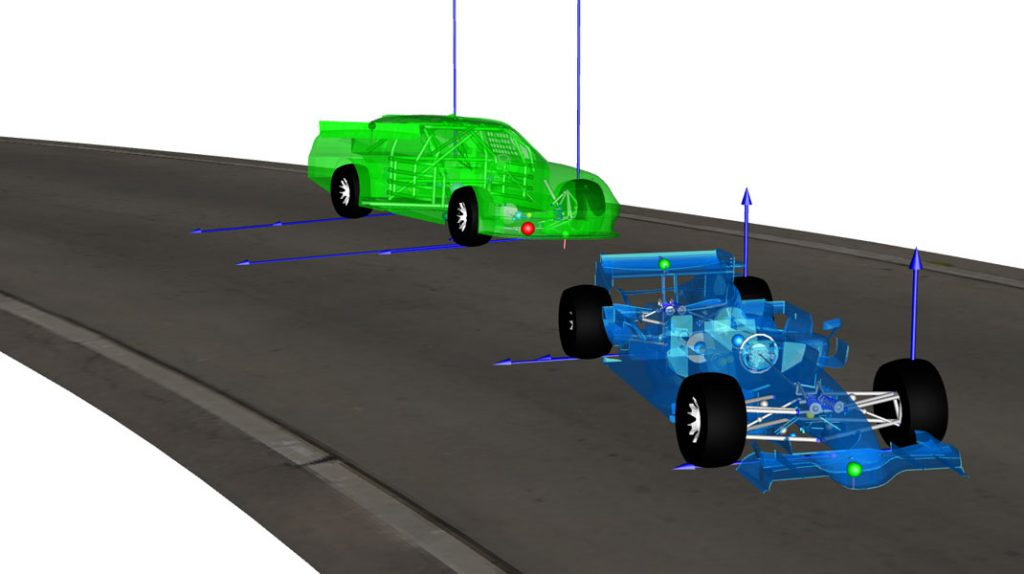 Figure 1: Animation view of Formula 1 and NASCAR race cars