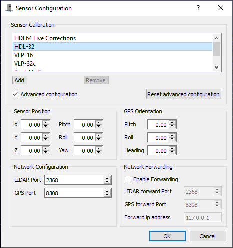 Figure 6 -  Veloview calibration settings