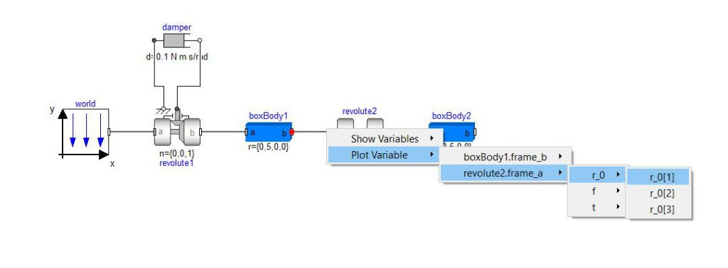 Figure 1: An example of how to plot connector variables from the Modelica.Mechanics.MultiBody.Examples.Elementary.DoublePendulum example model.