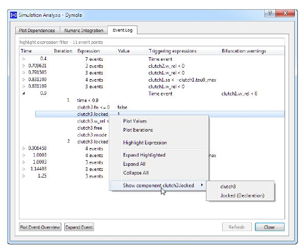 Figure 5: How to find where in a model the expression triggering an event is located. Image: Dymola/Dassault Systemes.