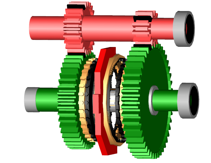 Figure 5. Animation of a detailed synchroniser model. The hub has been removed from the animation.