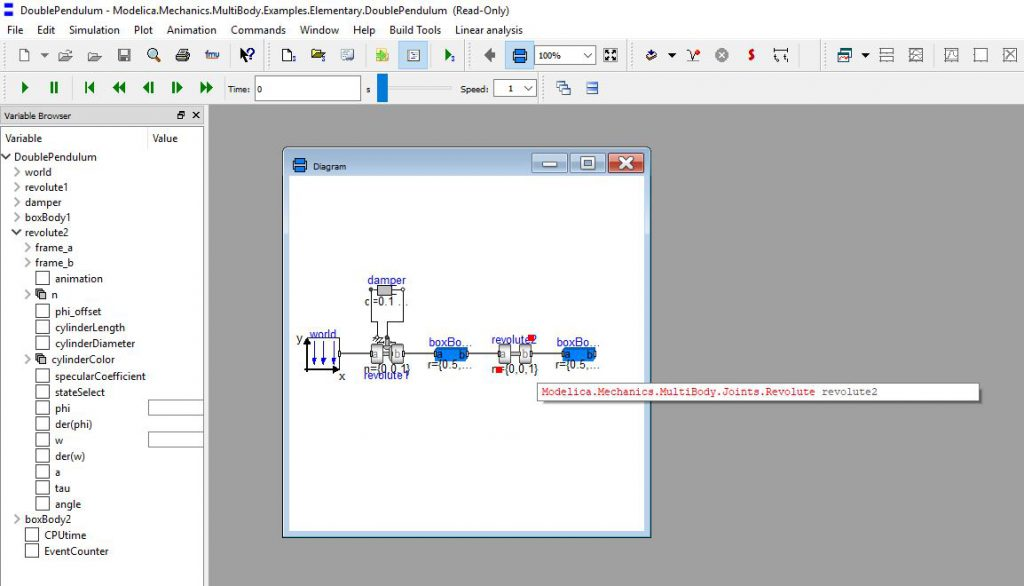 Figure 3: From the diagram in the simulation window, simply clicking on the component will open the component variable tree in the variable browser.
