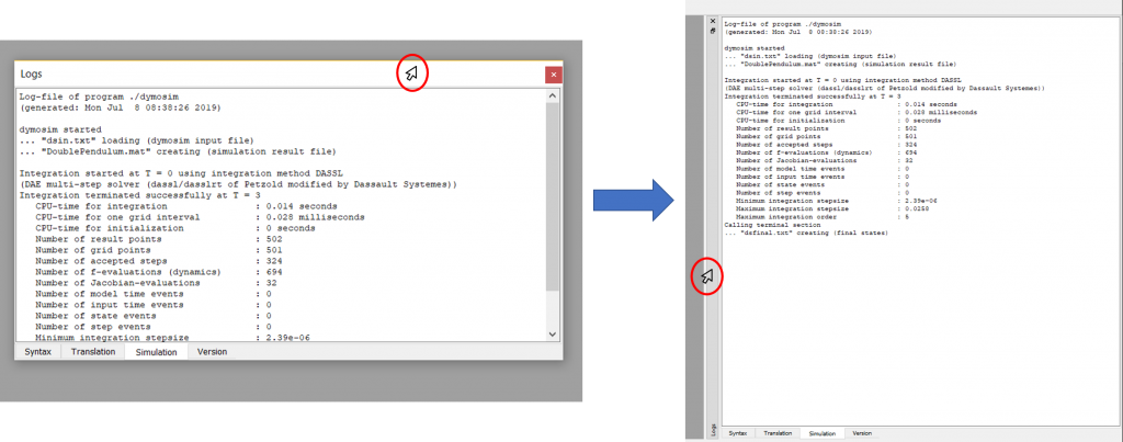 Figure 4: Double clicking on the top of the simulation log window will dock/un-dock the window from the last saved position. (cursor icon, freepik)