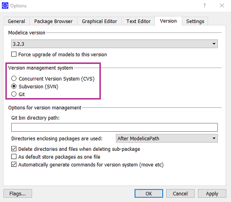Options Menu For Version Control Settings