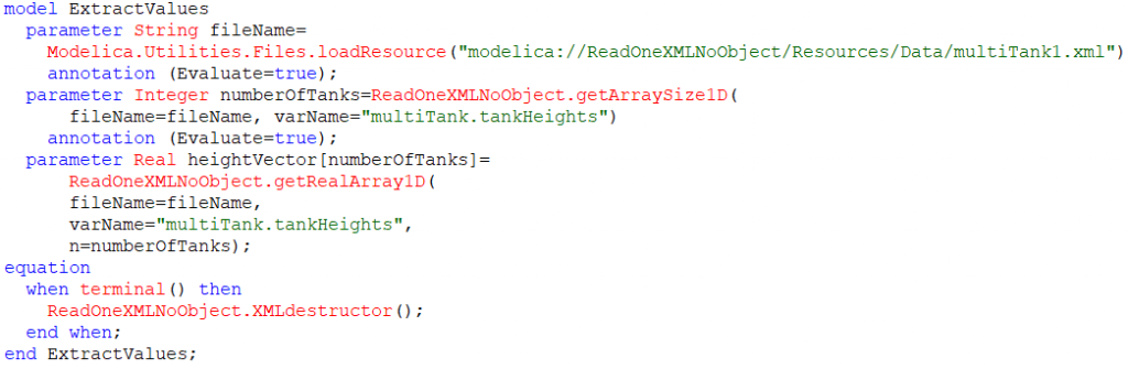 Figure 4. Using an array of unknown size from a XML file
