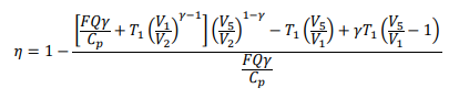 The formula to calculate the efficiency of the cycles shown in Table 3.