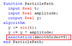 Figure 2. Adding the 'annotation(smoothOrder=9)' to the model.