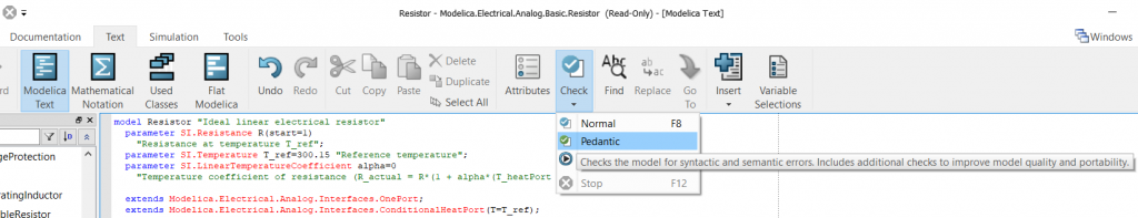 Figure 3: Pedantic model check is now accessible from the text editor.