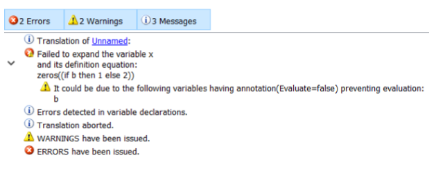 Figure 6: Error messages emanating from incorrectly attributed Evaluate = false annotations are now indicated more clearly to the user. Image: Dassault Systemes