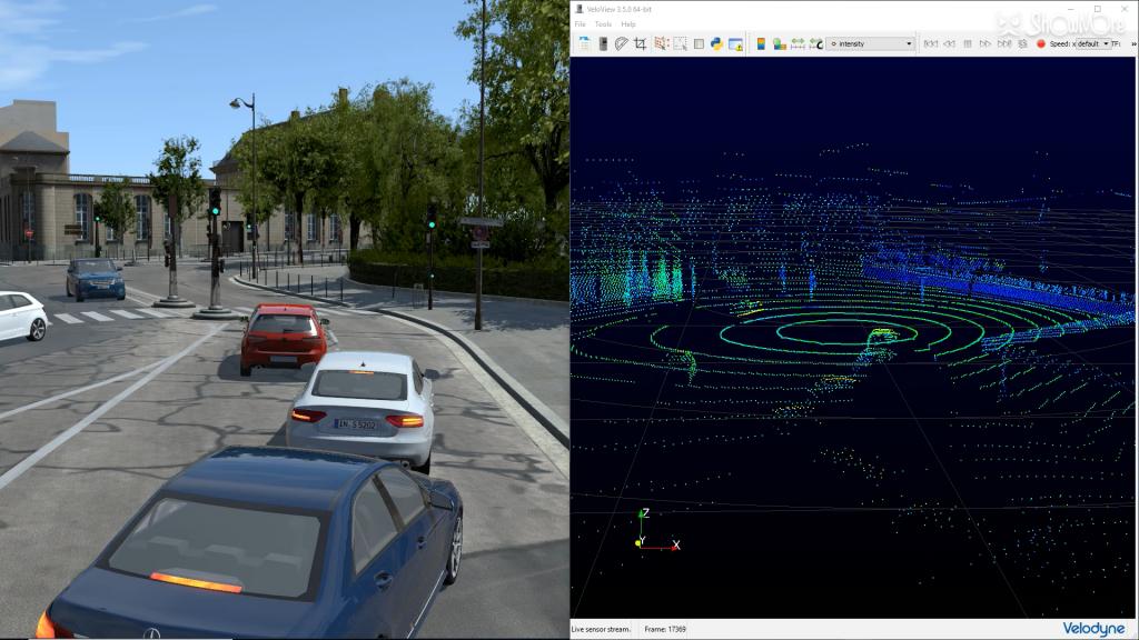 rFpro simulation with LiDAR sensor model