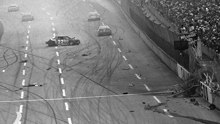 A crash that changed NASCAR. The aftermath of Bobby Allison's airborne crash (due to a tire failure) in 1987 which prompted the introduction of the restrictor plate. Image: Car & Driver.