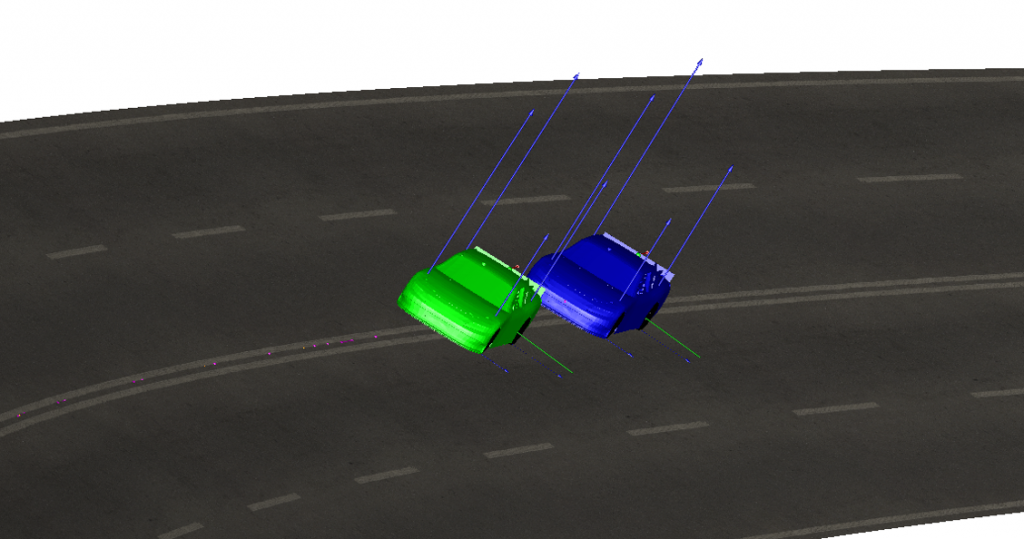 Creating a simulation with 2 vehicles was a simple process.